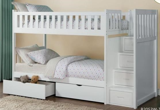 Homelegance Galen Twin Over Twin Storage Bunk Bed With Storage