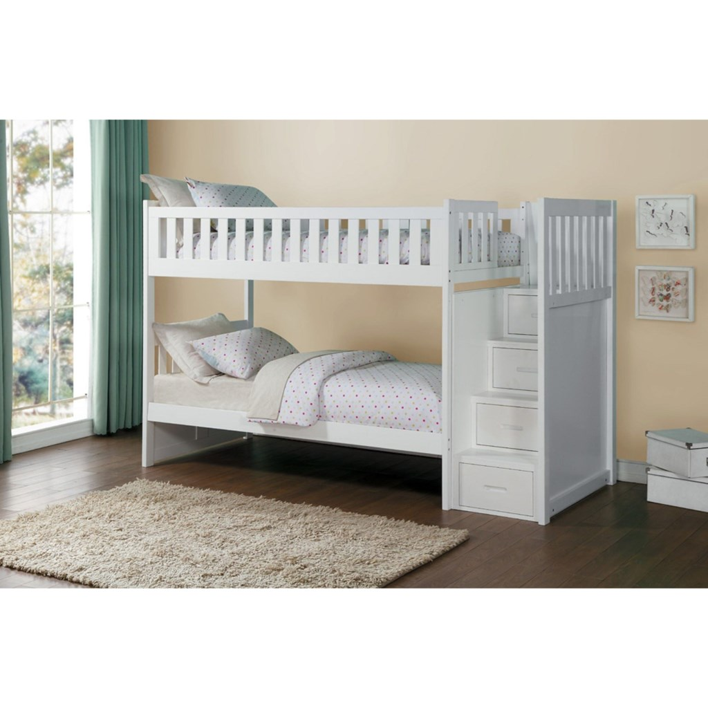 Homelegance Galen Twin Over Twin Staircase Storage Bunk Bed Darvin
