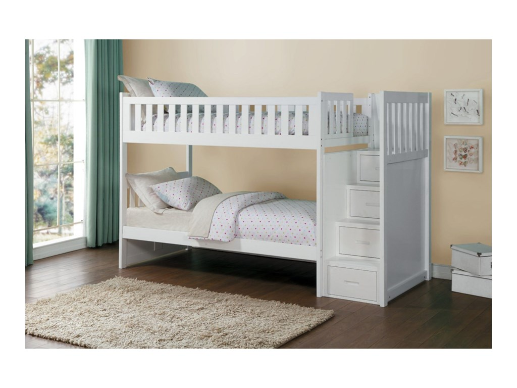 Homelegance GalenTwin Over Twin Storage Bunk Bed