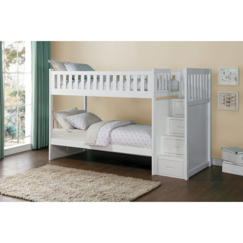 Homelegance Galen Twin Over Twin Staircase Storage Bunk Bed Fisher