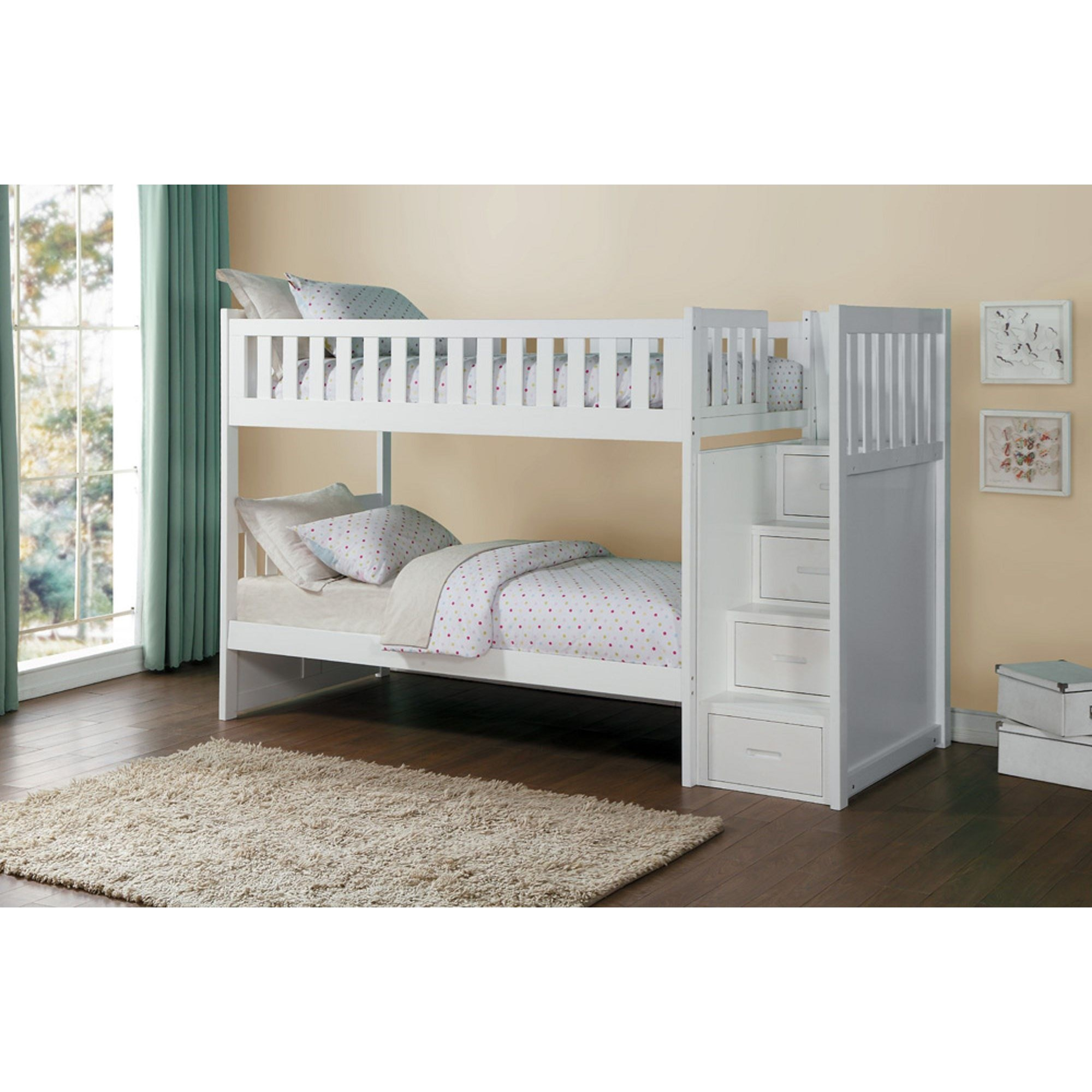 Great Homelegance (Clackamas Only) Galen Twin Over Twin Staircase Storage Bunk Bed