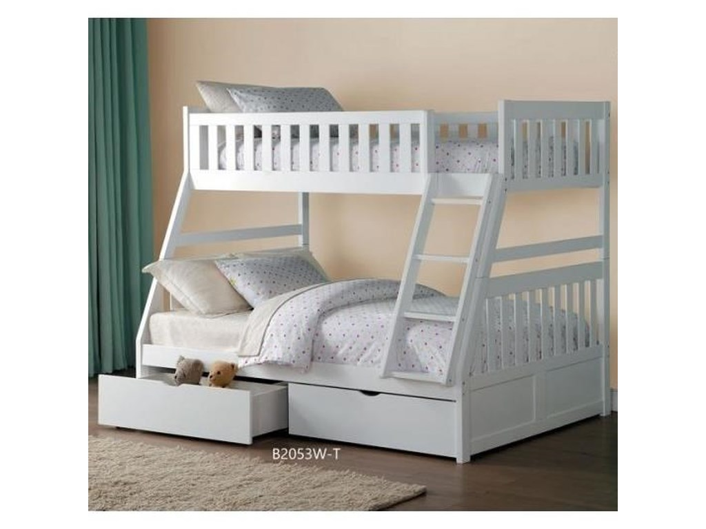 Homelegance GalenTwin Over Full Bunk Bed with Storage