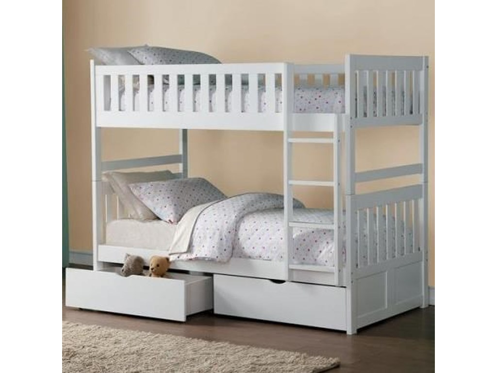 Homelegance GalenTwin Over Twin Bunk Bed with Storage