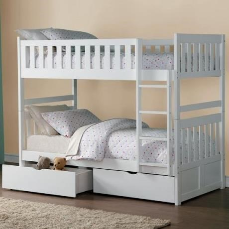 Homelegance GalenTwin Over Twin Bunk Bed with Storage & Homelegance Galen Twin Over Twin Bunk Bed with Storage Drawers ...