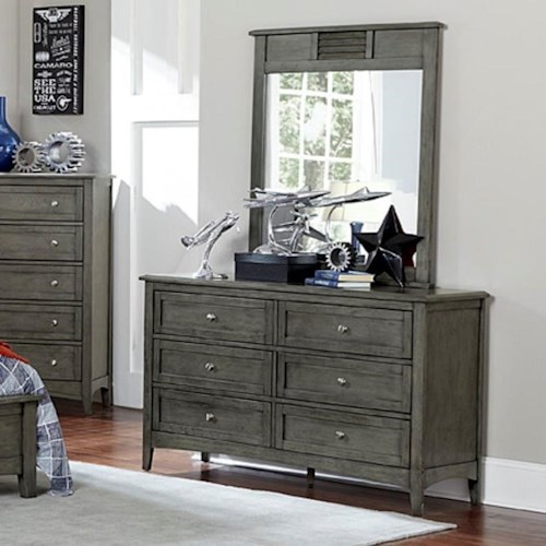 Homelegance Garcia Transitional Dresser and Mirror Combo with Dovetail Joinery
