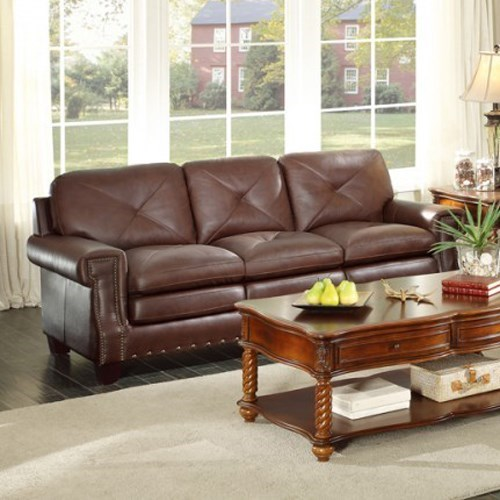 Homelegance GreermontTraditional Leather Sofa
