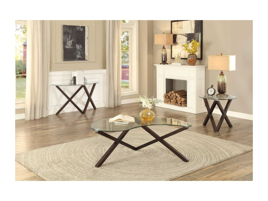 Homelegance Halston Sofa Table with Glass Top