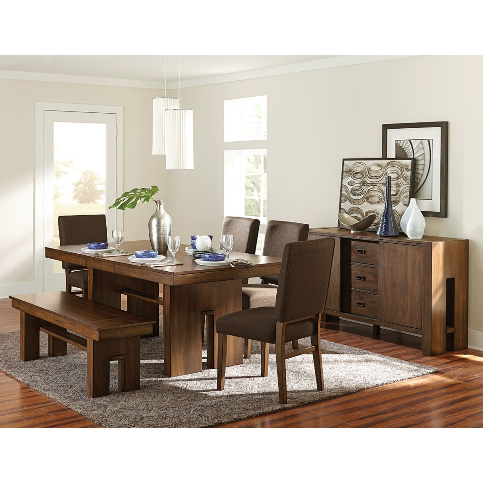 Sedley Contemporary Formal Dining Room Group With Bench And Self Storing Leaf By Homelegance At Reeds Furniture