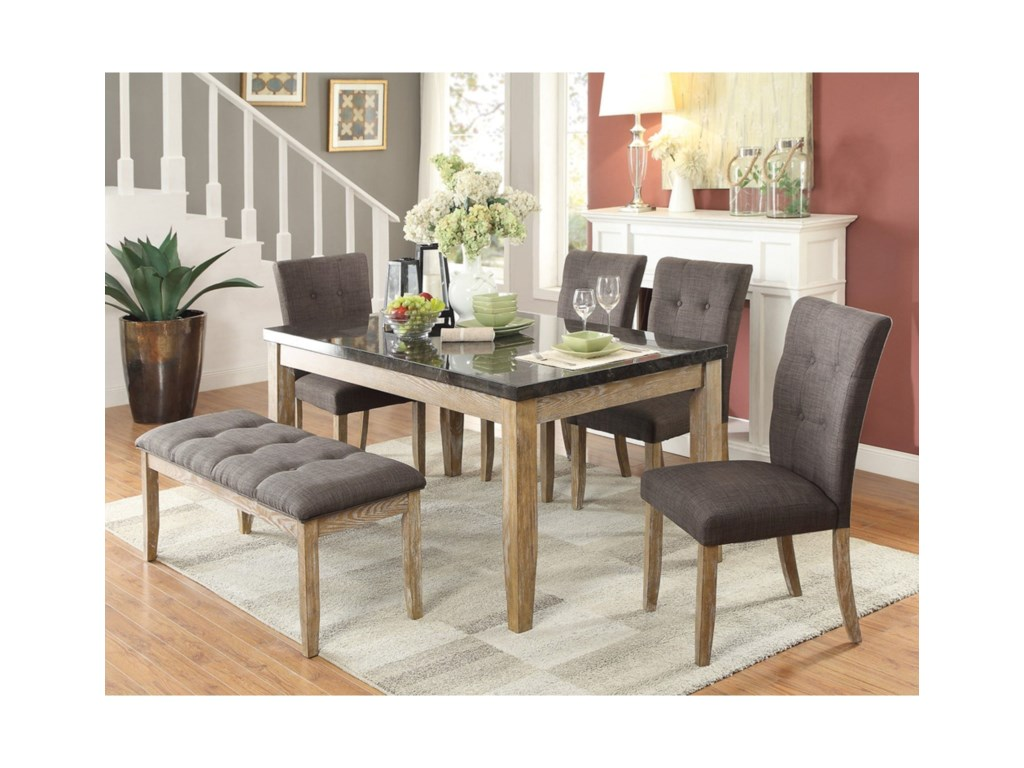 Homelegance HuronContemporary Table and Chair Set with Bench