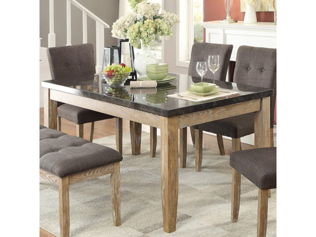 Homelegance Huron Contemporary Dining Table With Faux Marble Top