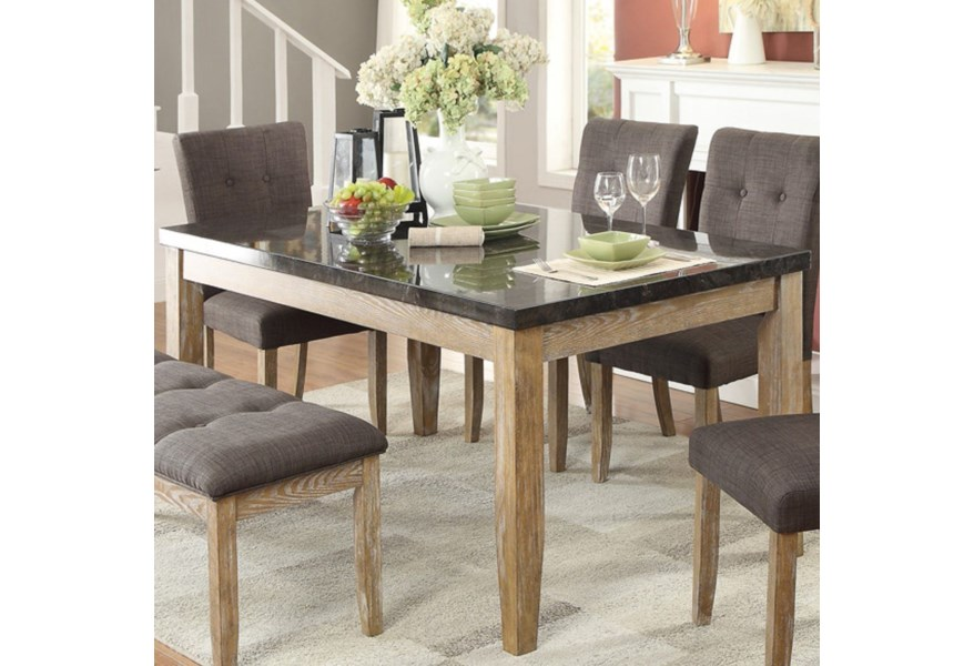 Homelegance Furniture Huron 5285 64 Contemporary Dining Table With Faux Marble Table Top Del Sol Furniture Dining Tables