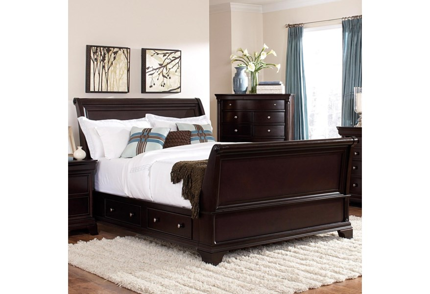 Homelegance Inglewood California King Sleigh Bed With Storage Drawers A1 Furniture Mattress Sleigh Beds
