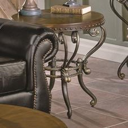 Homelegance Jenkins Traditional Round Shapely Metal End Table
