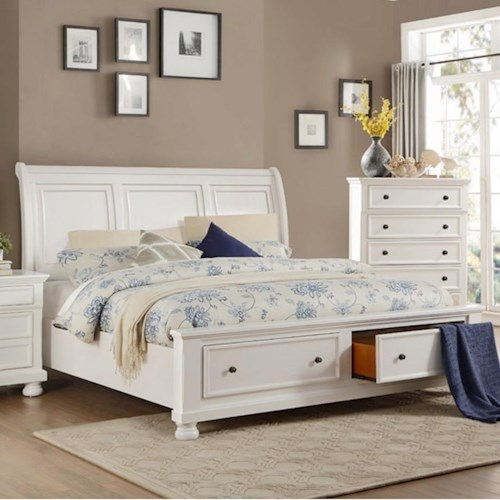 Homelegance Laurelin Transitional Queen Storage Bed with Footboard Drawers