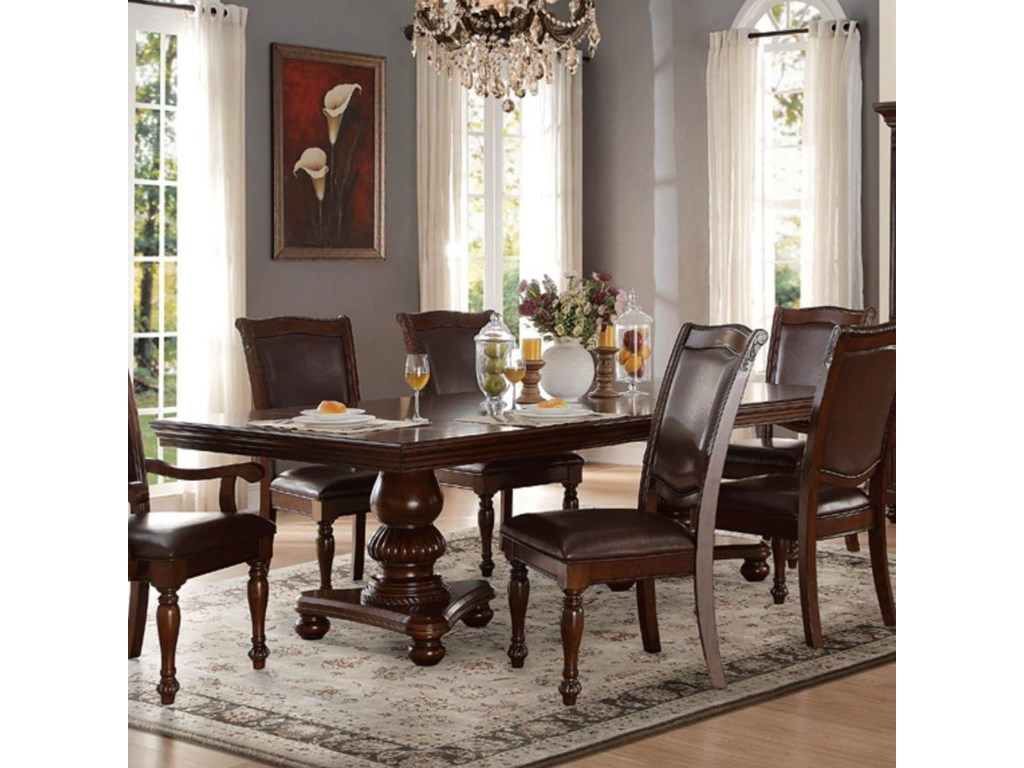 Lordsburg Traditional Double Pedestal Dining Table by Homelegance at Beck\'s  Furniture