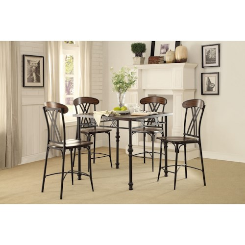 Homelegance Loyalton Transitional Counter Height Table and Chair Set