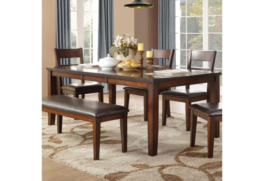 Mantello Transitional Dining Table with Table Leaf by Homelegance at Dream  Home Interiors