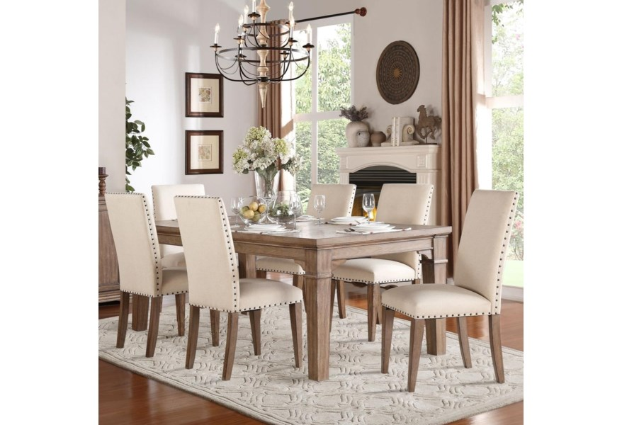 Homelegance Mill Valley Relaxed Vintage Dining Table And Chair Set With Nailhead Trim On Chairs Value City Furniture Dining 7 Or More Piece Sets