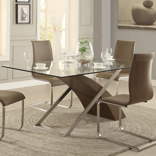 Homelegance Odeon Glass Top Dining Table with Sweeping Mixed Media Base
