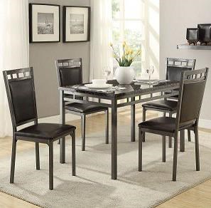 Homelegance Olney 5 Piece Metal Frame Dinette Set With Faux Marble Top