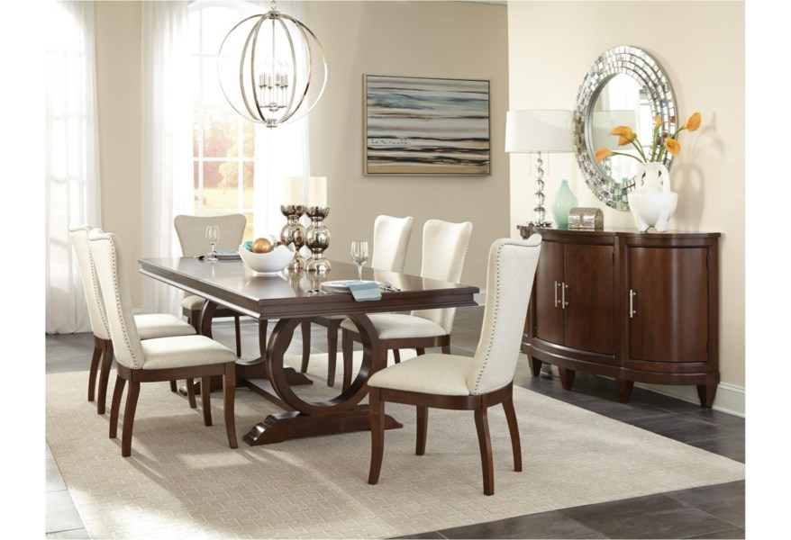 Homelegance Oratorio Transitional Dining Table With Pedestal Base Lindy S Furniture Company Dining Tables