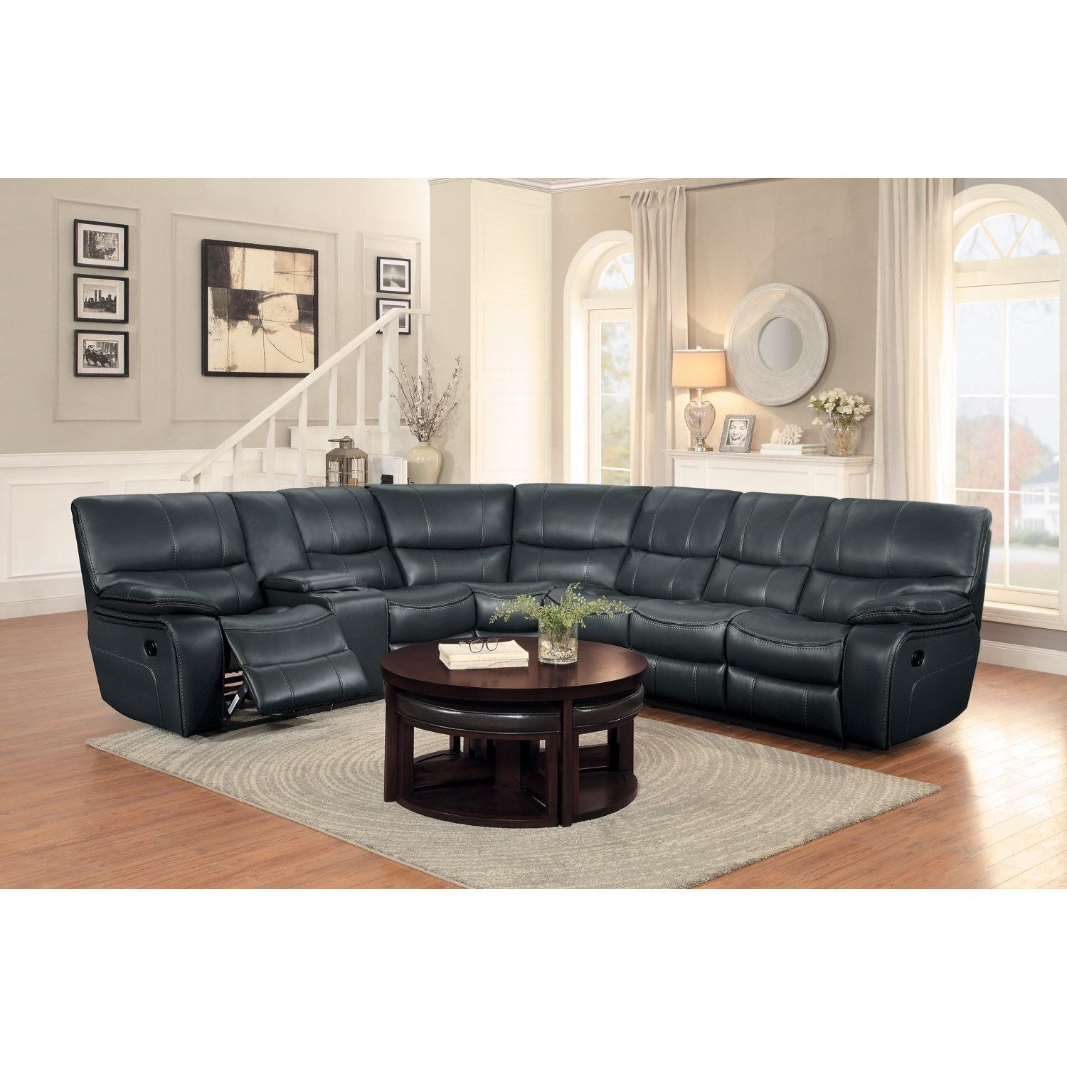 Homelegance Pecos Casual Sectional Sofa With Console And Cupholders