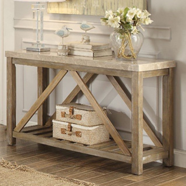 Homelegance Ridley Relaxed Vintage Sofa Table With White Marble Top