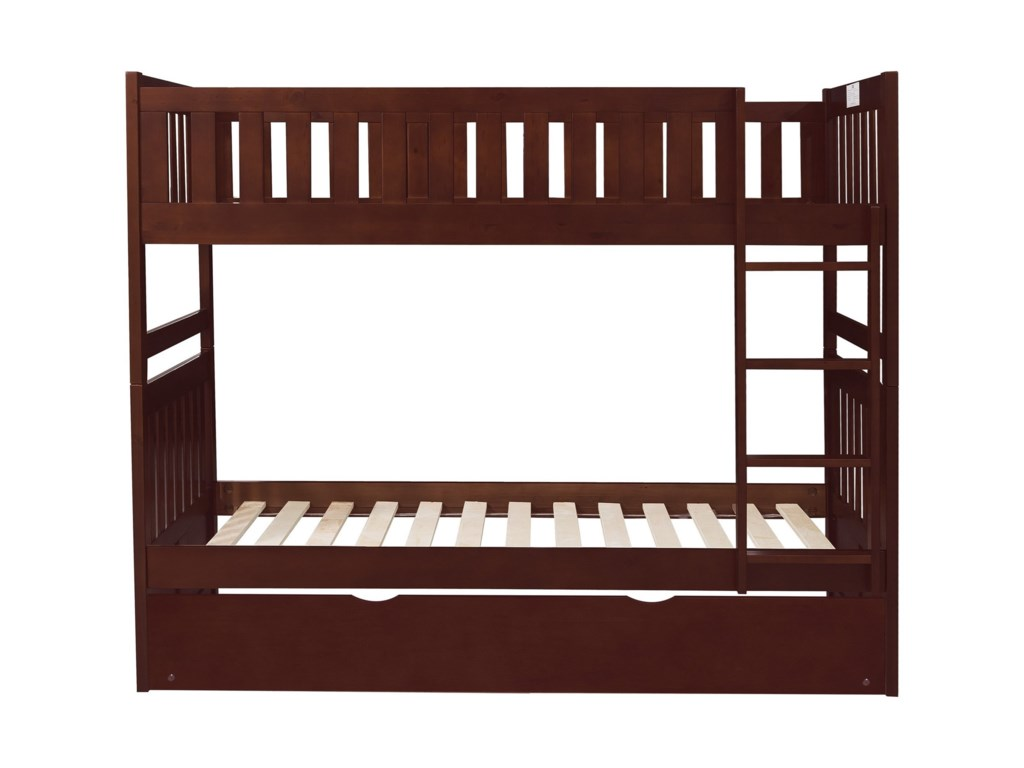 Homelegance RoweTwin Over Twin Trundle Bunk Bed
