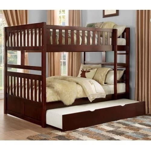 Homelegance Rowe Full Over Full Bunk Bed With Twin Trundle Unit