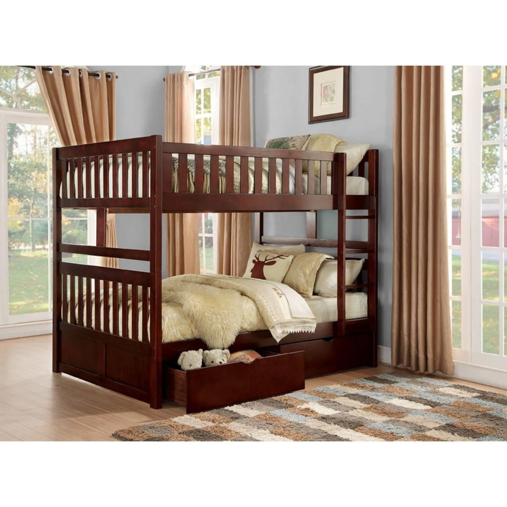 Homelegance Rowe Full Over Full Bunk Bed With Toy Storage Beck S