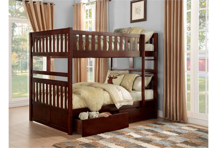 Homelegance Rowe Casual Full Over Full Bunk Bed With Storage Drawers A1 Furniture Mattress Bunk Beds