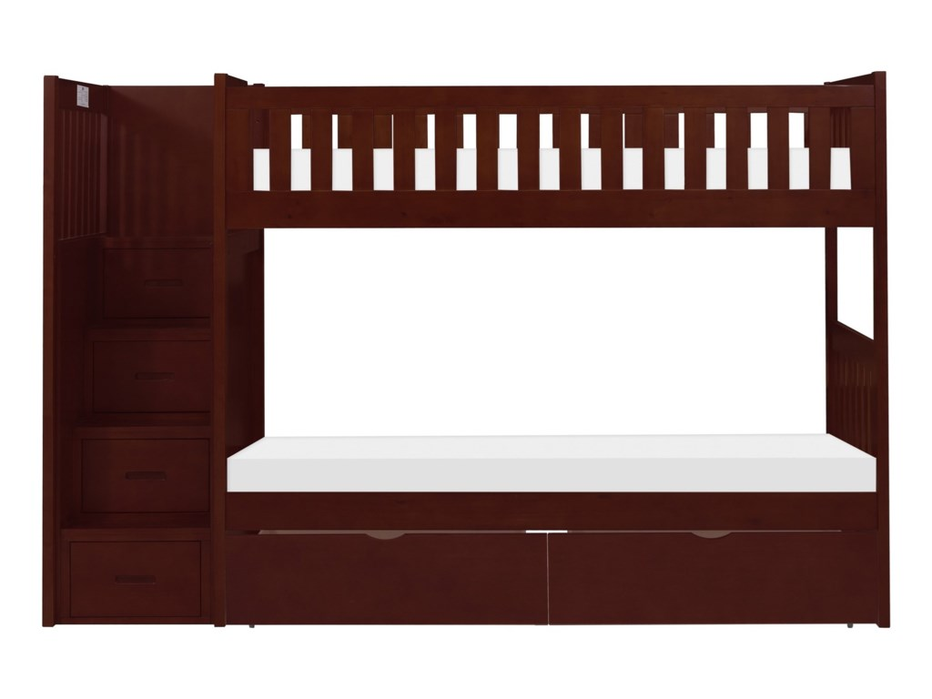 Homelegance RoweTwin Over Twin Storage Bunk Bed