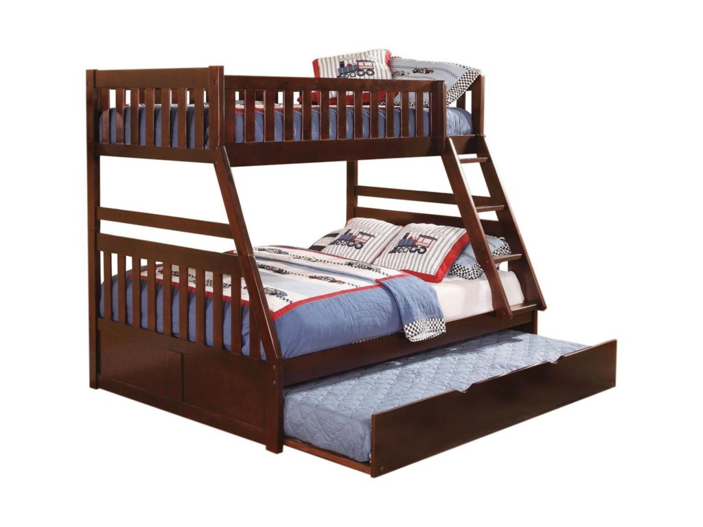 Homelegance RoweTwin Over Full Trundle Bunk Bed