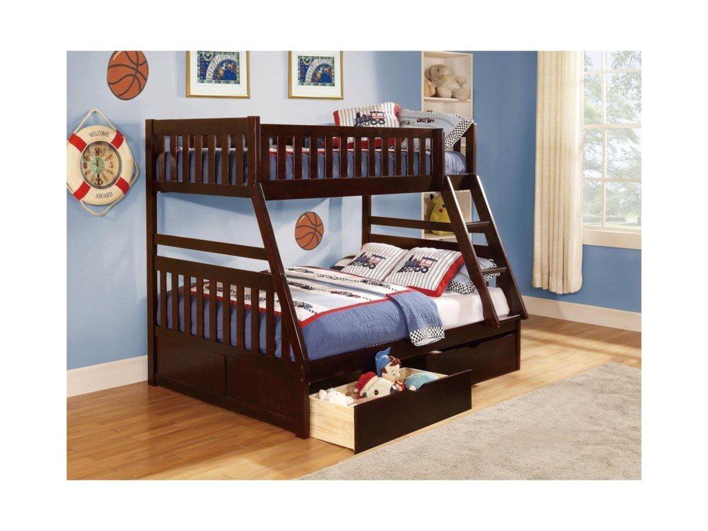 Homelegance RoweTwin Over Full Storage Bunk Bed