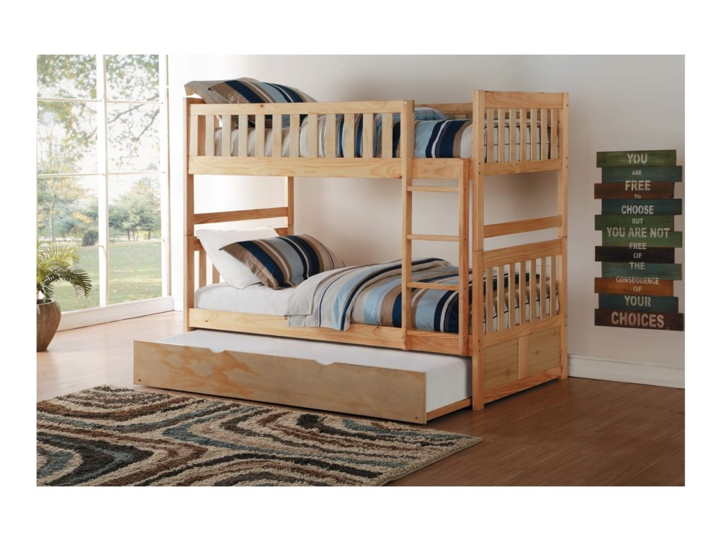 Homelegance BartlyTwin Over Twin Bunk Bed with Trundle
