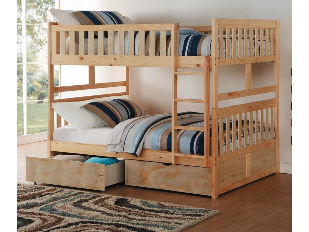 Homelegance BartlyFull Over Full Bunk Bed with Toy Storage