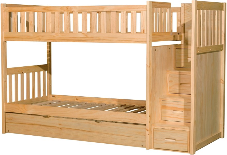 Homelegance Furniture Discovery B2043sb 1 2 3 Sl R Casual Twin Over Twin Bunk Bed With Trundle And Reversible Step Storage Del Sol Furniture Bunk Beds