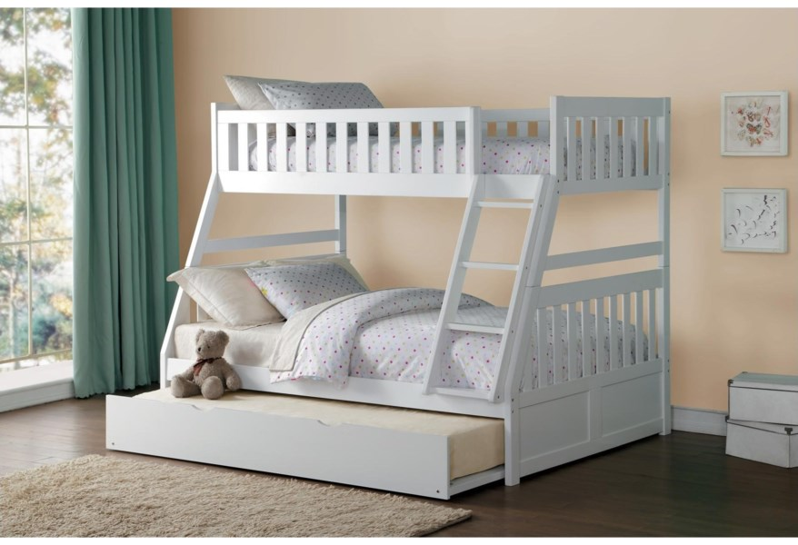 Homelegance Galen Casual Twin Over Full Bunk Bed With Trundle Value City Furniture Bunk Beds