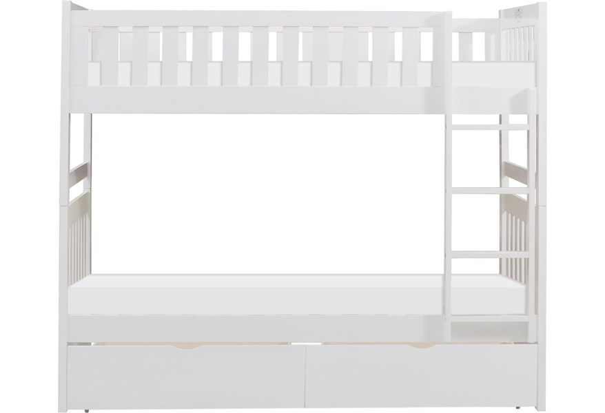 Home Style White Twin Over Twin Bunk Bed With Storage Drawers Walker S Furniture Bunk Beds