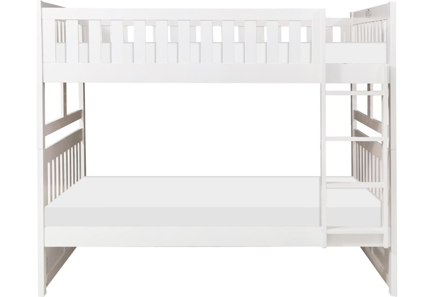 Home Style White Casual Full Over Full Bunk Bed Walker S Furniture Bunk Beds