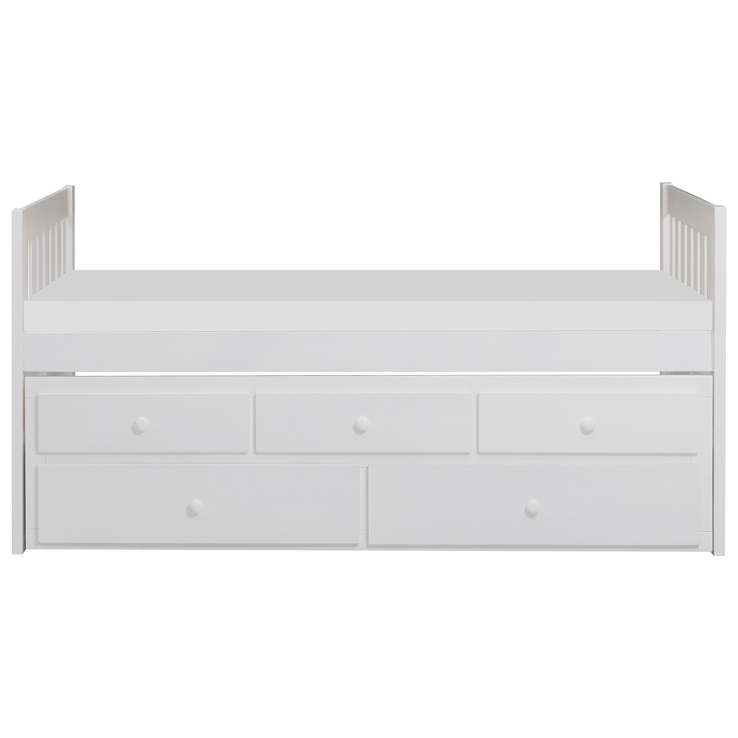 Casual Twin Captain's Bed with Trundle and Storage Drawers