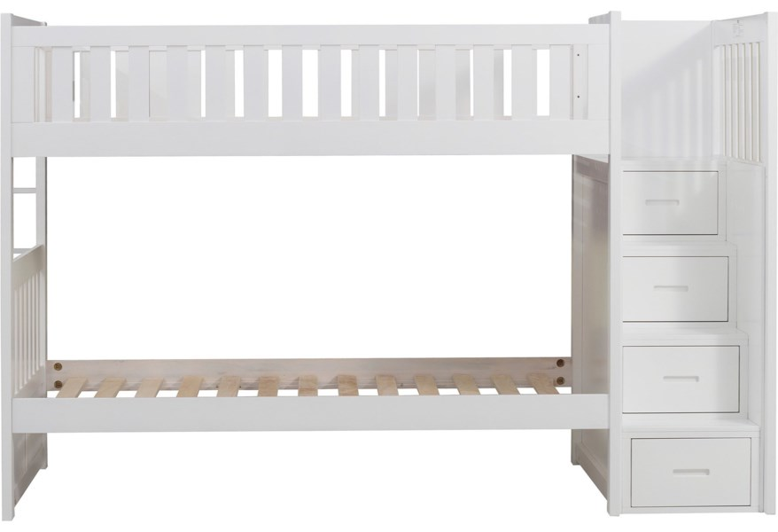 Home Style White Casual Twin Over Twin Bunk Bed With Reversible Step Storage Walker S Furniture Bunk Beds