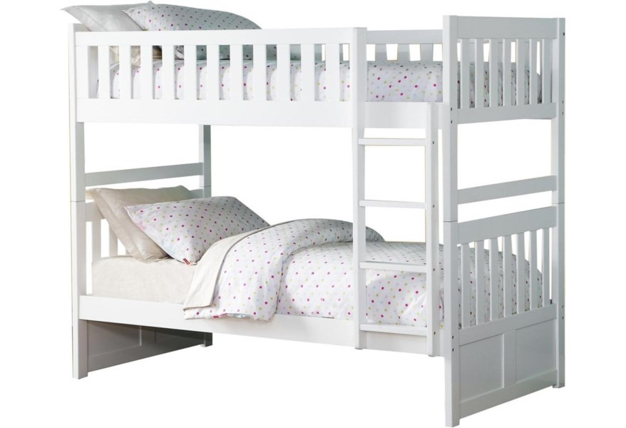 Homelegance Galen Casual Twin Over Twin Bunk Bed A1 Furniture Mattress Bunk Beds