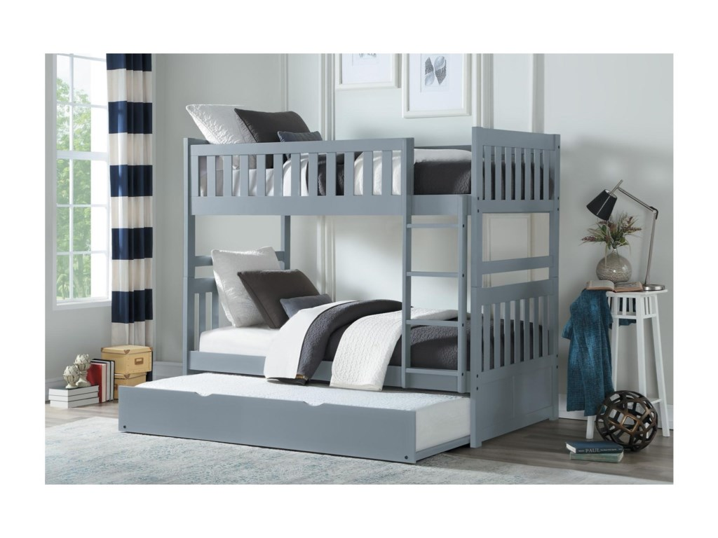 Homelegance OrionTwin Over Twin Trundle Bunk Bed