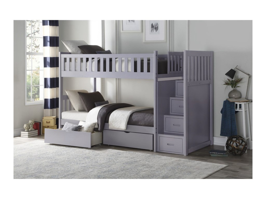 Homelegance OrionTwin Over Twin Storage Bunk Bed