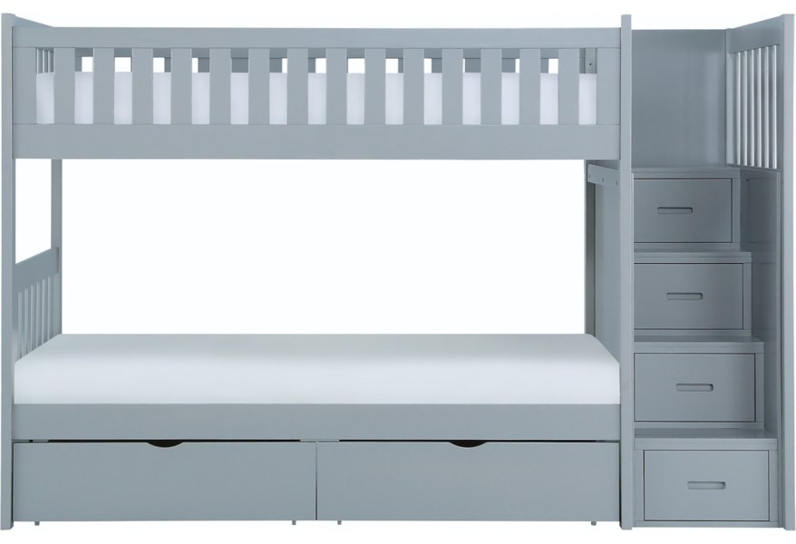 Homelegance Orion Casual Twin Over Twin Bunk Bed With Reversible Step Storage And Underbed Storage Lindy S Furniture Company Bunk Beds