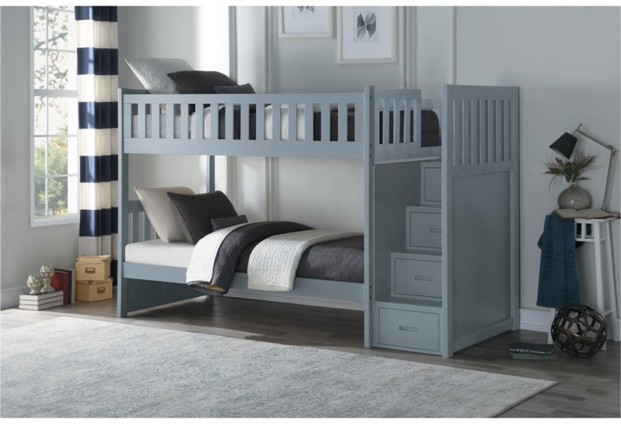 Home Style Gray Casual Twin Over Twin Bunk Bed With Reversible Step Storage Walker S Furniture Bunk Beds
