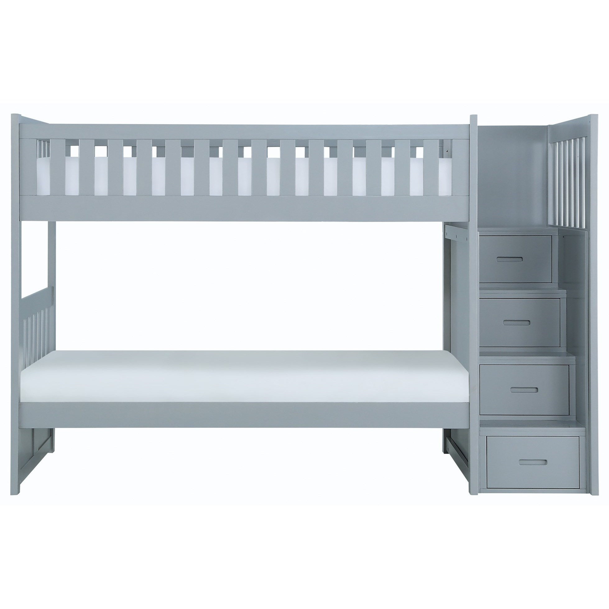 Casual Twin Over Twin Bunk Bed With Reversible Step Storage