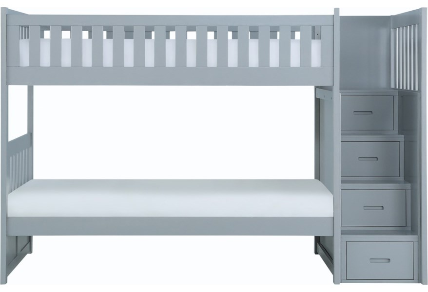Homelegance Orion Casual Twin Over Twin Bunk Bed With Reversible Step Storage A1 Furniture Mattress Bunk Beds