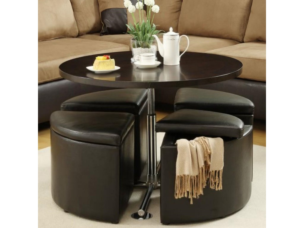 Homelegance RowleyLift Table with 4 Ottomans